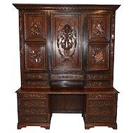 RARE Antique French Renaissance Bookcase Solid Carved Doors IMPRESSIVE Large