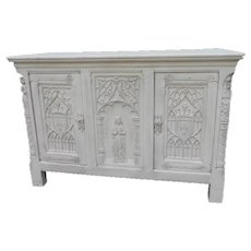 Vintage French Gothic Cabinet, Painted White, 1920's, Oak