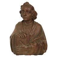 Expressive Wooden St. John Religious Statue or Bust, Oak, Turn of Century
