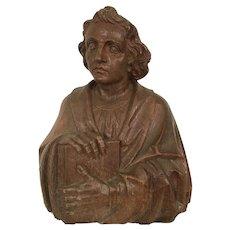 Expressive Wooden St. John Religious Statue or Bust, Oak, Turn of Century