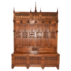 RARE Monumental Antique French Gothic Bench and Coat Rack Very Special Model BEAUTIFUL