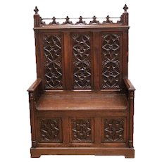 Excellent French Gothic Medieval Bench, Oak, 19th Century