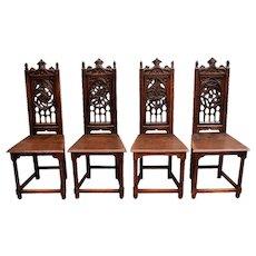 Fantastic Set of Four French Gothic Chairs, Pierced Backs, Oak, 19th Century
