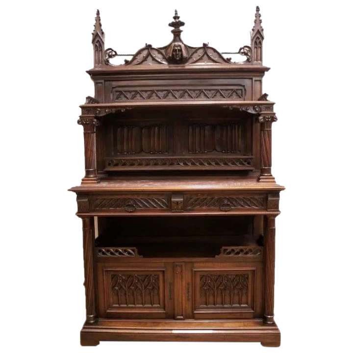 Antique French Gothic Dining Room Sideboard The BEST Quality in Walnut  STUNNING