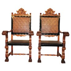 Impressive Pair of Large and Sturdy Spanish Arm Chairs,1960's