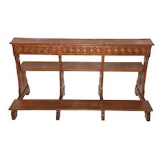 Great French Gothic Kneeler and Bench, 1920's, Oak