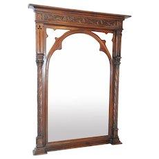 Tall Antique French Gothic Mirror, Walnut Frame, 19th Century