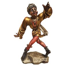 Vintage Whimsical Painted Wooden Statue of Blackamoor with Wall Shelf