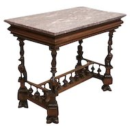 Elaborately Carved Antique French Renaissance Desk / Occassional Table, Carved Gargoyles