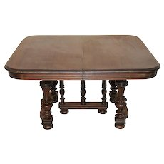 Antique French Gothic Walnut Dining Table with 3 Leaves, Late 19th Century