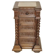 Attractive Antique French Hunt Nightstand with Barley Twist