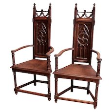 Pair of Antique French Gothic Arm Chairs, 19th Century, Oak
