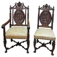 Amazing set of Eight Bruegal Dining Chairs, Great Carvings