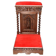 Attractive French Gothic Prayer Chair or Church Kneeler, 19th Century