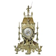 Antique Bronze French Gothic Mantle Clock, 19th Century