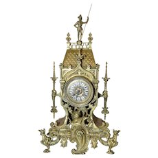 Antique Bronze French Gothic Mantle Clock, 19th Century