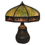 Antique Handel Sunset Palm Border Overlay Lamp with Swampy Base
