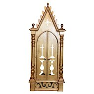 Lovely Gold Religious Chapel with Bronze Crucifix, 1920's, Pine