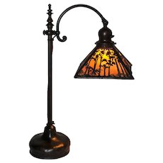 Handel Overlay Sunset Palm Desk Lamp Arts & Crafts Tall Model