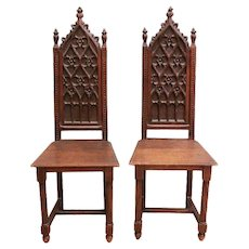 Fantastic Set of Two Antique French Gothic Side Chairs, Tall Backs, 19th Century, Oak