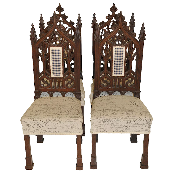 Antique Gothic Chairs French Dining Casual Breakfast Nook Oak 19th