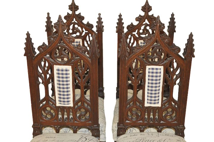 Antique Gothic Chairs French Dining Casual Breakfast Nook Oak 19th Century - Antique Gothic Chairs French Dining Casual Breakfast Nook Oak 19th