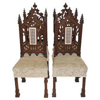 Antique Gothic Chairs French Dining Casual Breakfast Nook Oak 19th Century