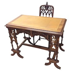 Intricately Carved Antique French Gothic Desk & Chair Set. 19th Century