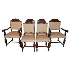 Nice Clean Set of Six French Tudor Chairs, Oak Frames, 1940's