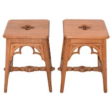 Vintage pair of French Gothic Stools, Rustic & Simple Lines, 1920's