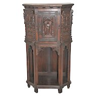 Antique French Gothic Cabinet, Oak, Scholar Carvings, Oak , Circa 1910