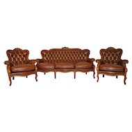 3 Piece Provincial Brown Leather Salon set, Sofa & 2 Chairs