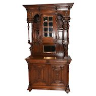 Terrific Vintage French Oak Jester Cabinet, Tall Model, Oak