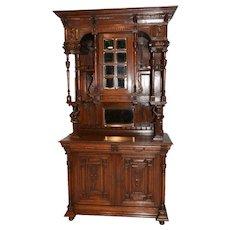 Terrific Vintage French Oak Jester Cabinet, Tall Model, Oak