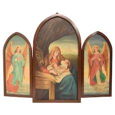 Striking Hand Painted Religious Triplicate, Turn of Century