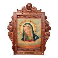 Unique Antique Framed Religious Madonna Oil Painting, 1900-20's