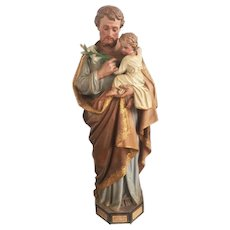 Lovely Plaster Statue of St. Joseph with Baby Jesus, Tall, 1920's
