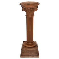 Tall Vintage French Gothic Pedestal, Oak, 1920's