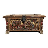 Colorful Vintage Spanish Trunk or Chest, Pine, Circa 1950-60's