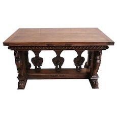 Extraordinary French Renaissance Dining Table or Desk, Walnut, 19th Century
