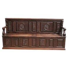 Long French Renaissance Antique Bench in Oak, 19th Century