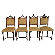 Superb set of Four Gothic Dining Chairs, Walnut, Turn of the Century