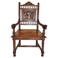 Antique French Breton Arm Chair, Oak, Turn of the Century