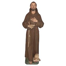 Tall Vintage Religious Statue of St. Francis of Assisi, Plaster, 1920's