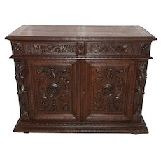 Nicely Carved French Hunt Cabinet, 19th Century, Oak