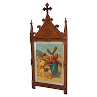 Large French Gothic Church Station of the Cross No. 8 or Gothic Frame, Religious Art