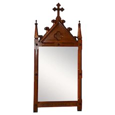 Large Antique French Gothic Mirror, Converted from Station of the Cross No. 8 , 1920's