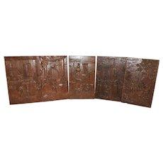 Nicely Carved Antique Set of 5 Renaissance Panels, Oak, 19th Century