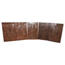 Nicely Carved Antique Set of 5 Renaissance Panels, Oak, 19th Century