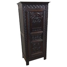 Antique French Gothic Cabinet or Armoire, Narrow Model, Oak, 19th Century